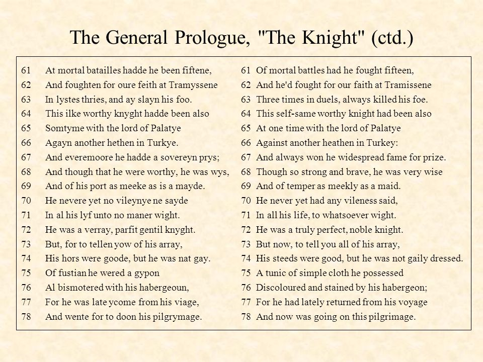The General Prologue, The Knight (ctd.)