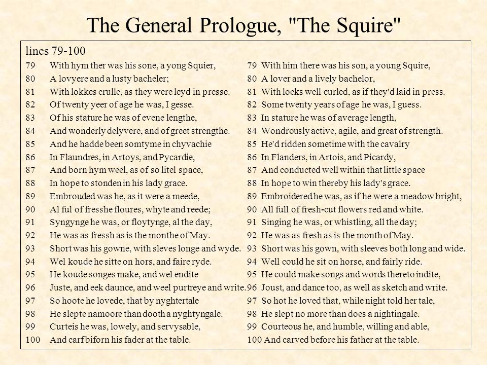 The General Prologue, The Squire