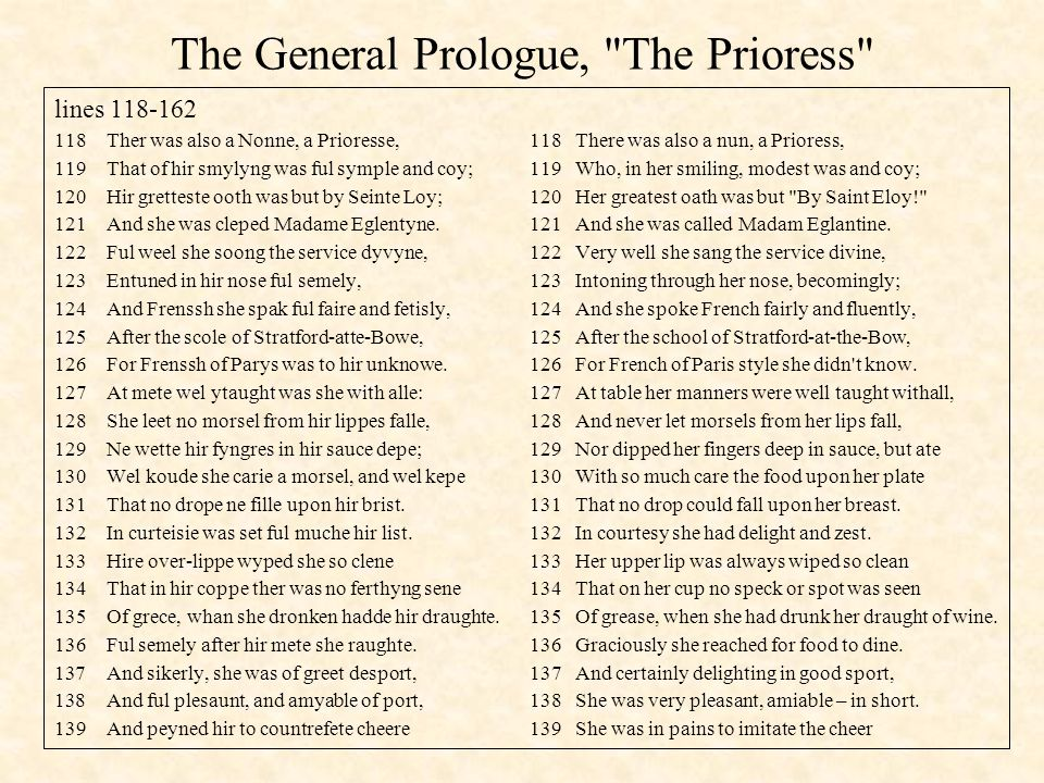 The General Prologue, The Prioress