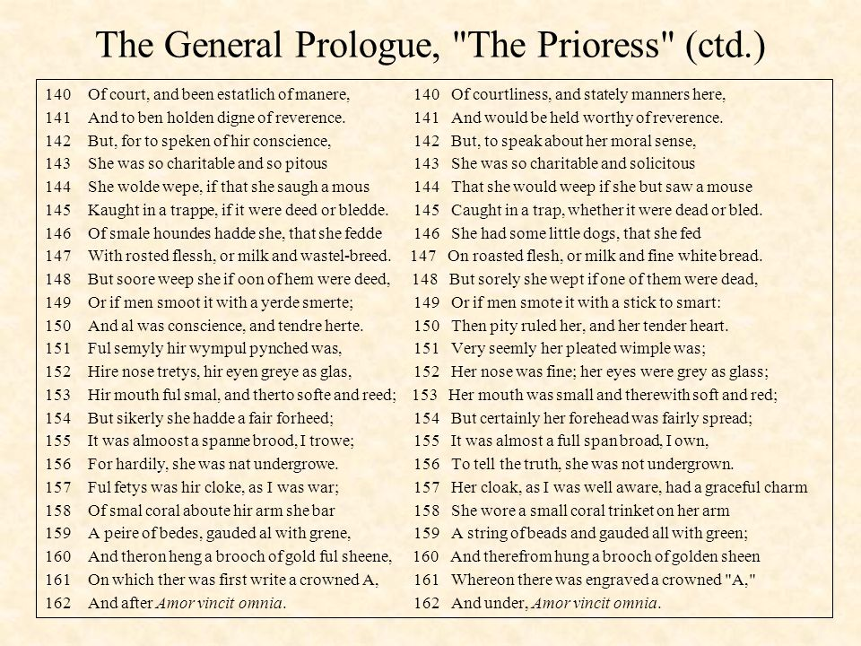 The General Prologue, The Prioress (ctd.)