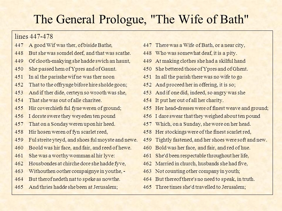 The General Prologue, The Wife of Bath