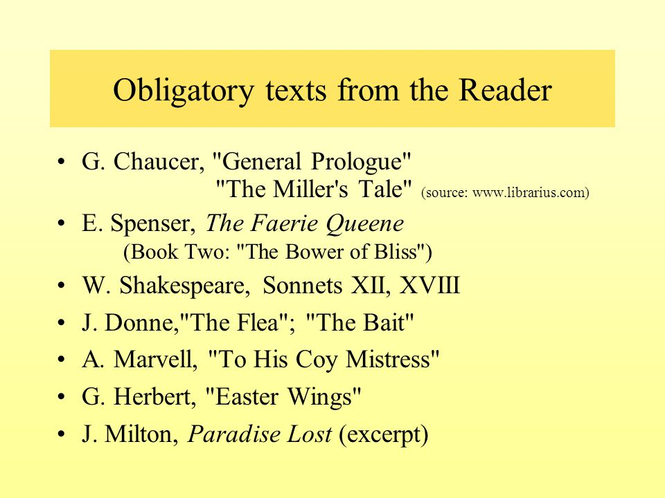 Obligatory texts from the Reader