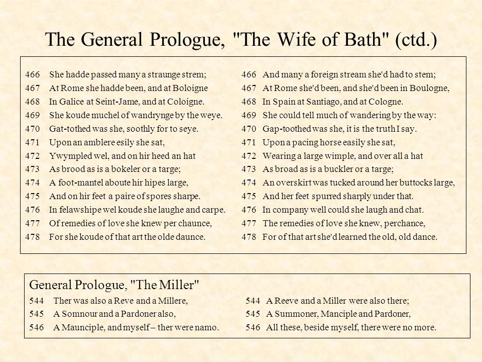 The General Prologue, The Wife of Bath (ctd.)