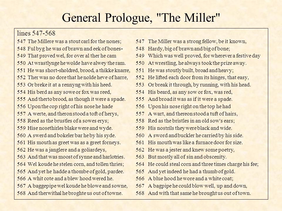 General Prologue, The Miller
