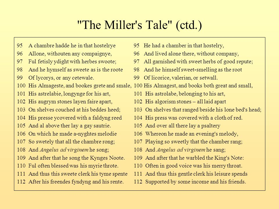 The Miller s Tale (ctd.) 95 A chambre hadde he in that hostelrye 95 He had a chamber in that hostelry,