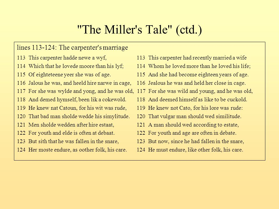 The Miller s Tale (ctd.) lines 113-124: The carpenter s marriage