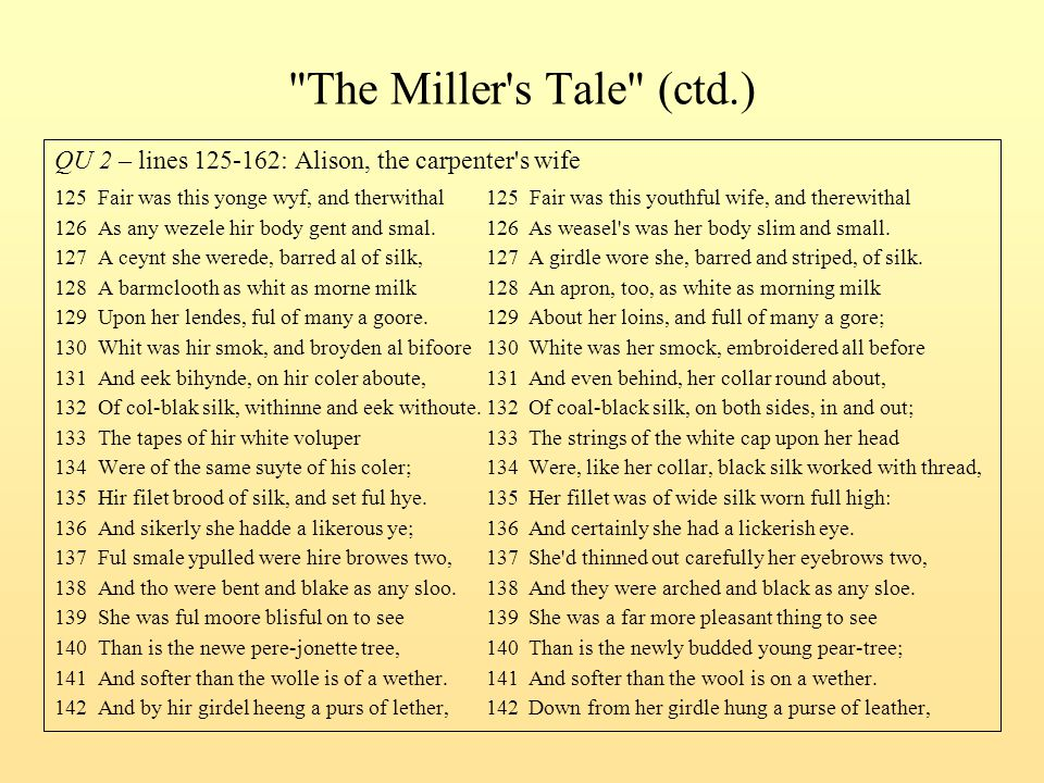 The Miller s Tale (ctd.) QU 2 – lines 125-162: Alison, the carpenter s wife.