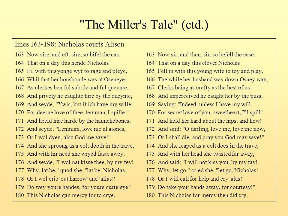 The Miller s Tale (ctd.) lines 163-198: Nicholas courts Alison