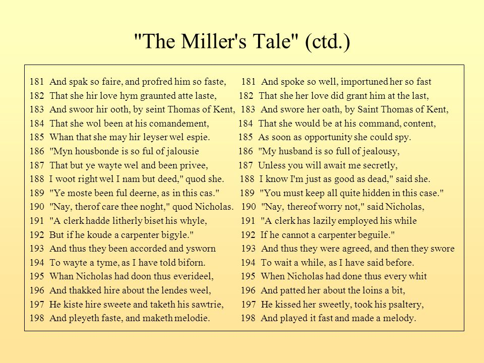 The Miller s Tale (ctd.) 181 And spak so faire, and profred him so faste, 181 And spoke so well, importuned her so fast.