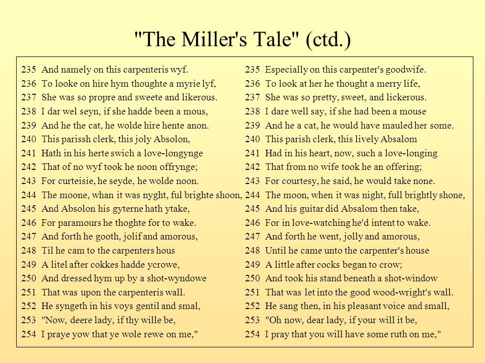 The Miller s Tale (ctd.) 235 And namely on this carpenteris wyf. 235 Especially on this carpenter s goodwife.