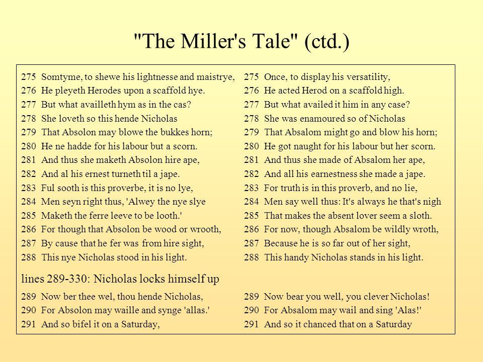The Miller s Tale (ctd.) lines 289-330: Nicholas locks himself up