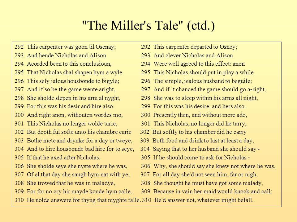 The Miller s Tale (ctd.) 292 This carpenter was goon til Osenay; 292 This carpenter departed to Osney;