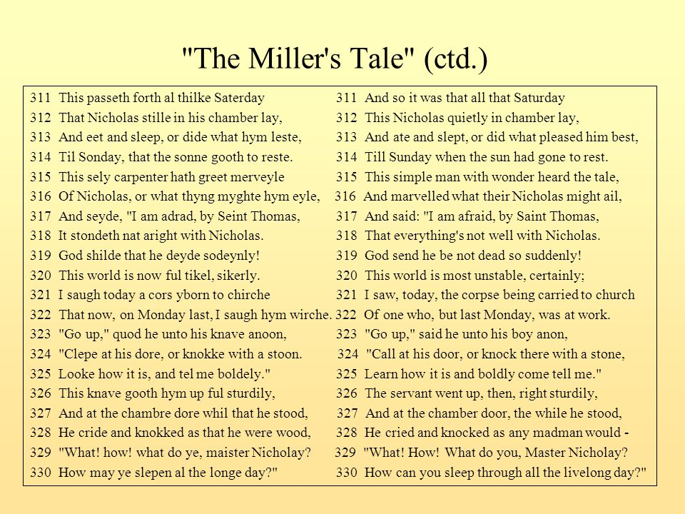 The Miller s Tale (ctd.) 311 This passeth forth al thilke Saterday 311 And so it was that all that Saturday.