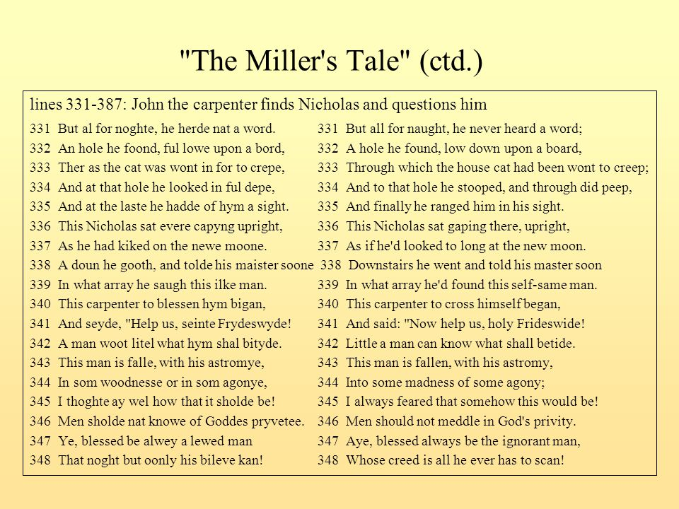 The Miller s Tale (ctd.) lines 331-387: John the carpenter finds Nicholas and questions him.