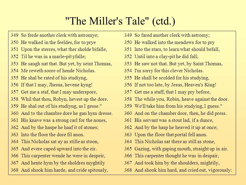 The Miller s Tale (ctd.) 349 So ferde another clerk with astromye; 349 So fared another clerk with astromy;