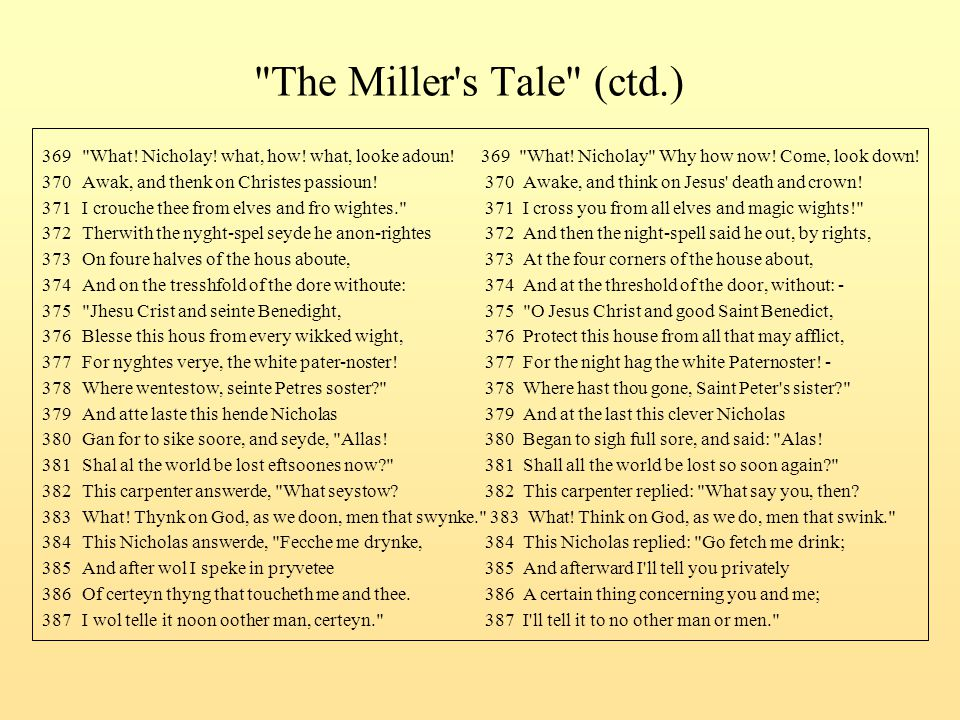 The Miller s Tale (ctd.) 369 What! Nicholay! what, how! what, looke adoun! 369 What! Nicholay Why how now! Come, look down!