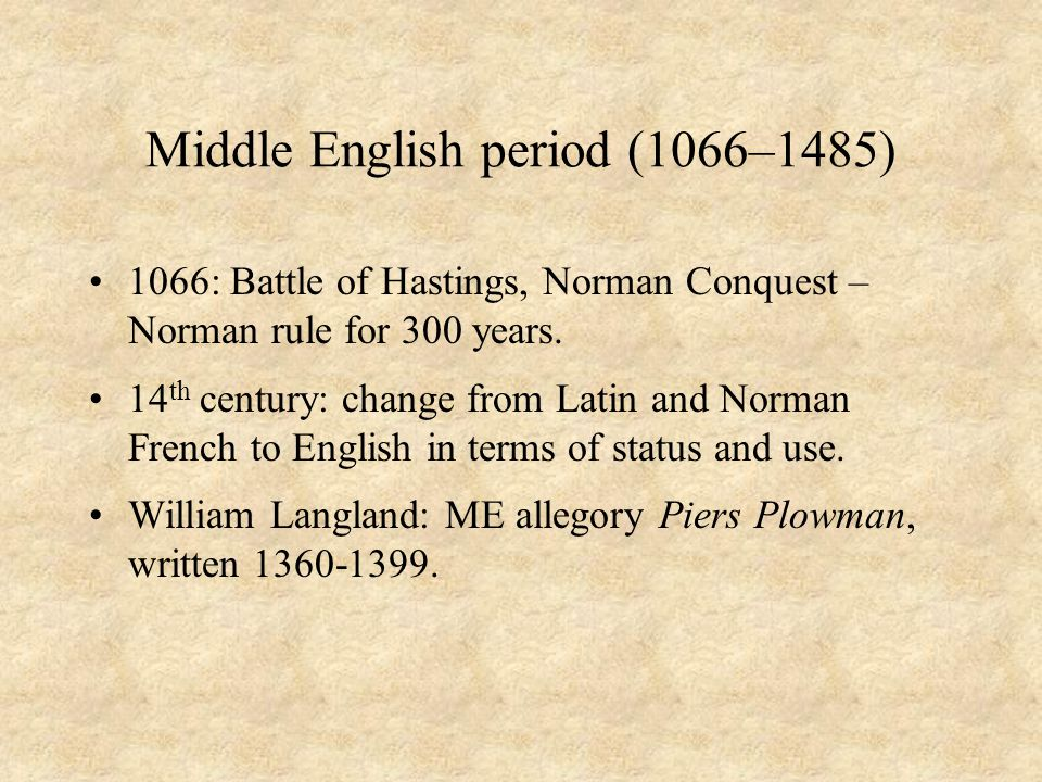 Middle English period (1066–1485)