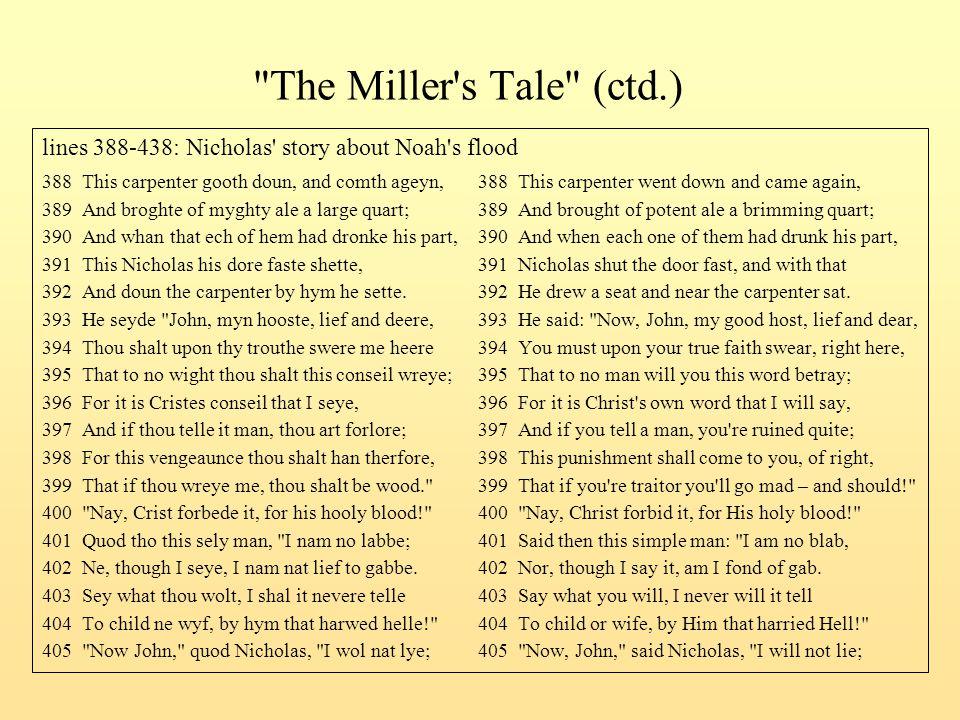The Miller s Tale (ctd.) lines 388-438: Nicholas story about Noah s flood.
