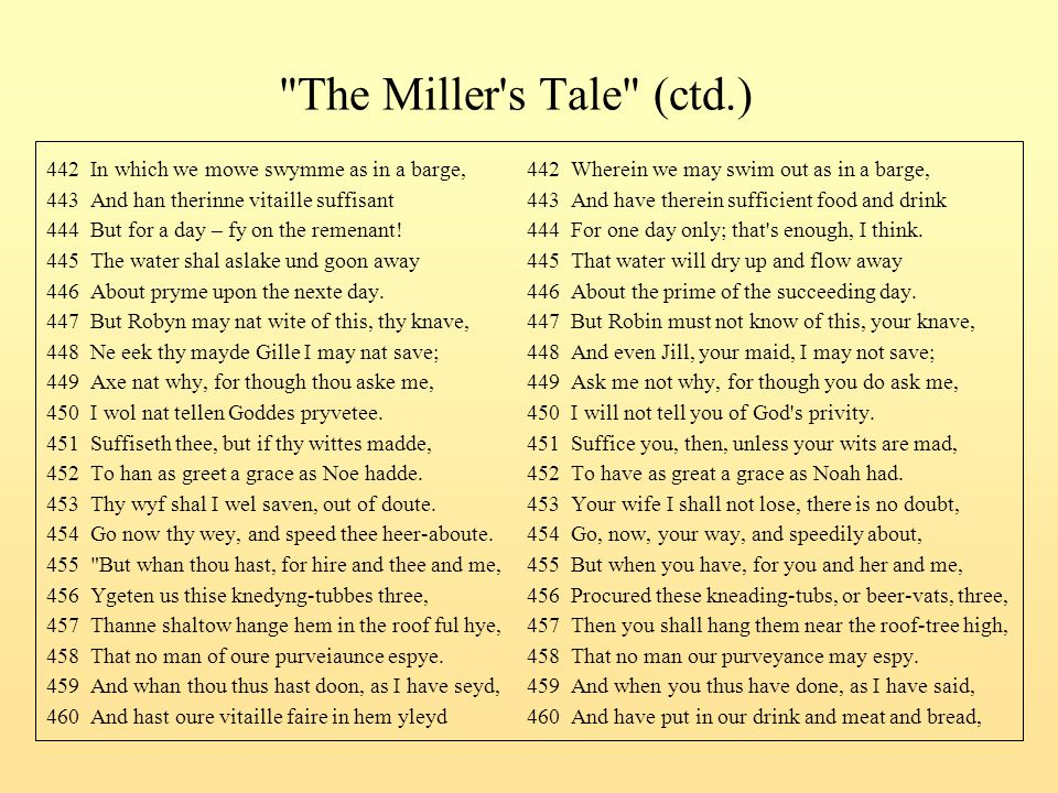 The Miller s Tale (ctd.) 442 In which we mowe swymme as in a barge, 442 Wherein we may swim out as in a barge,