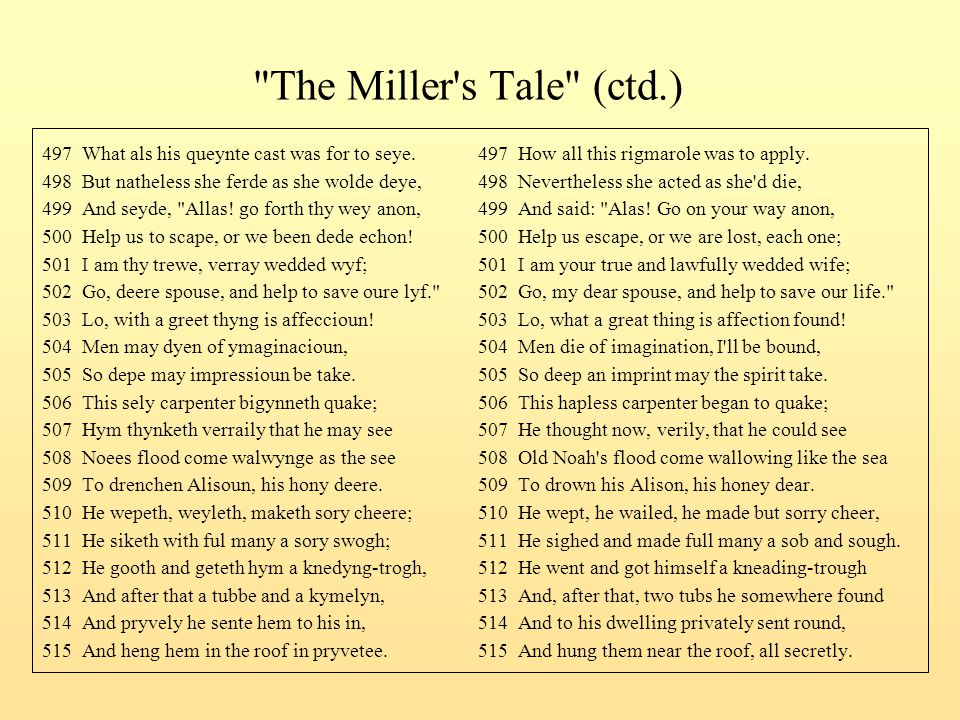 The Miller s Tale (ctd.) 497 What als his queynte cast was for to seye. 497 How all this rigmarole was to apply.