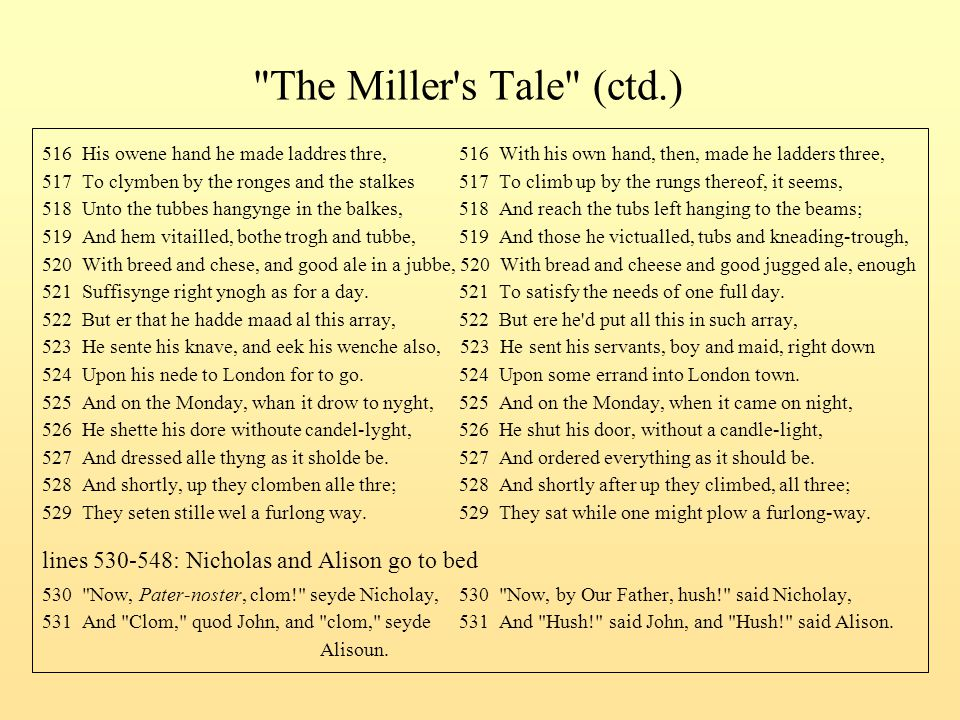 The Miller s Tale (ctd.) 516 His owene hand he made laddres thre, 516 With his own hand, then, made he ladders three,