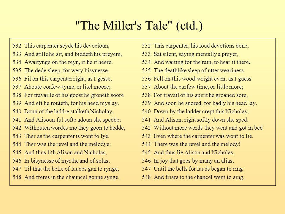The Miller s Tale (ctd.) 532 This carpenter seyde his devocioun, 532 This carpenter, his loud devotions done,