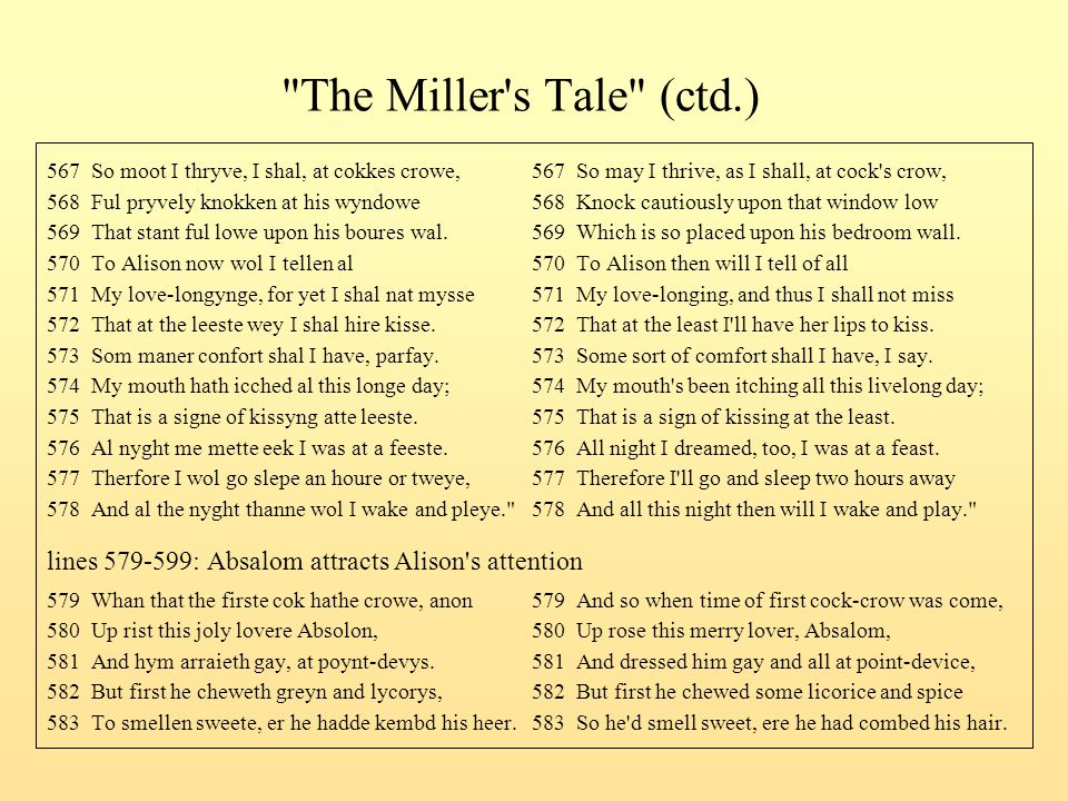 The Miller s Tale (ctd.) 567 So moot I thryve, I shal, at cokkes crowe, 567 So may I thrive, as I shall, at cock s crow,
