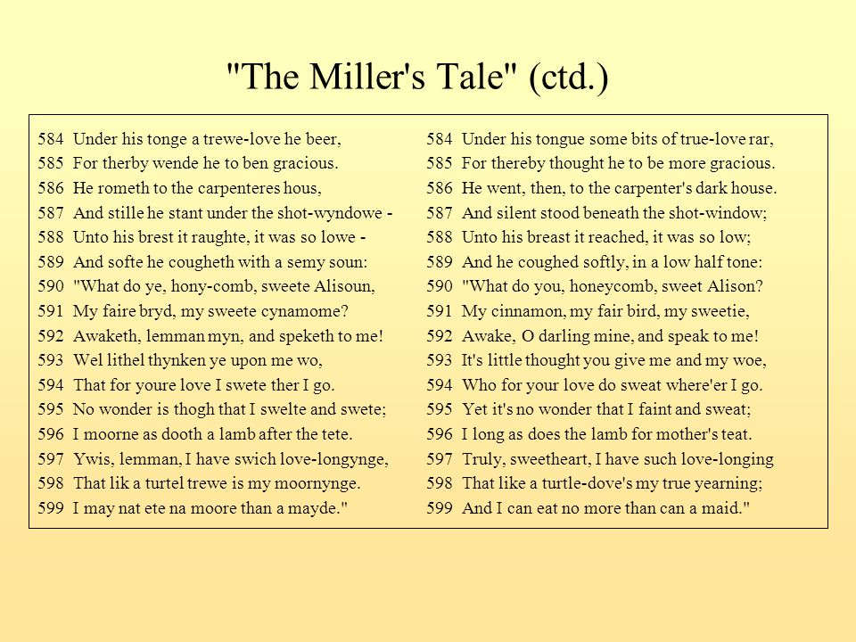 The Miller s Tale (ctd.) 584 Under his tonge a trewe-love he beer, 584 Under his tongue some bits of true-love rar,