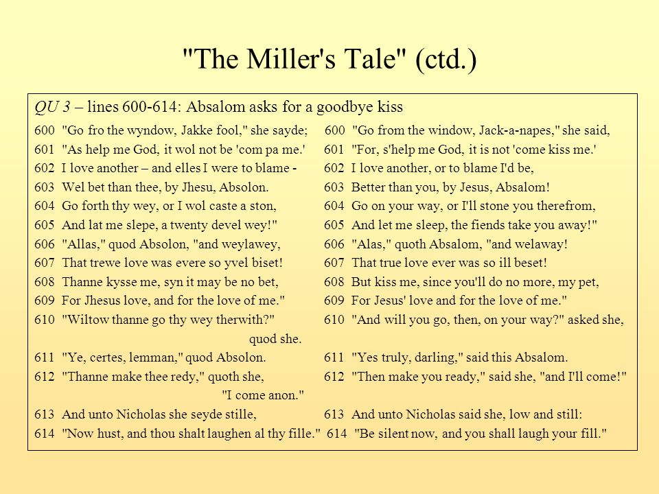 The Miller s Tale (ctd.) QU 3 – lines 600-614: Absalom asks for a goodbye kiss.