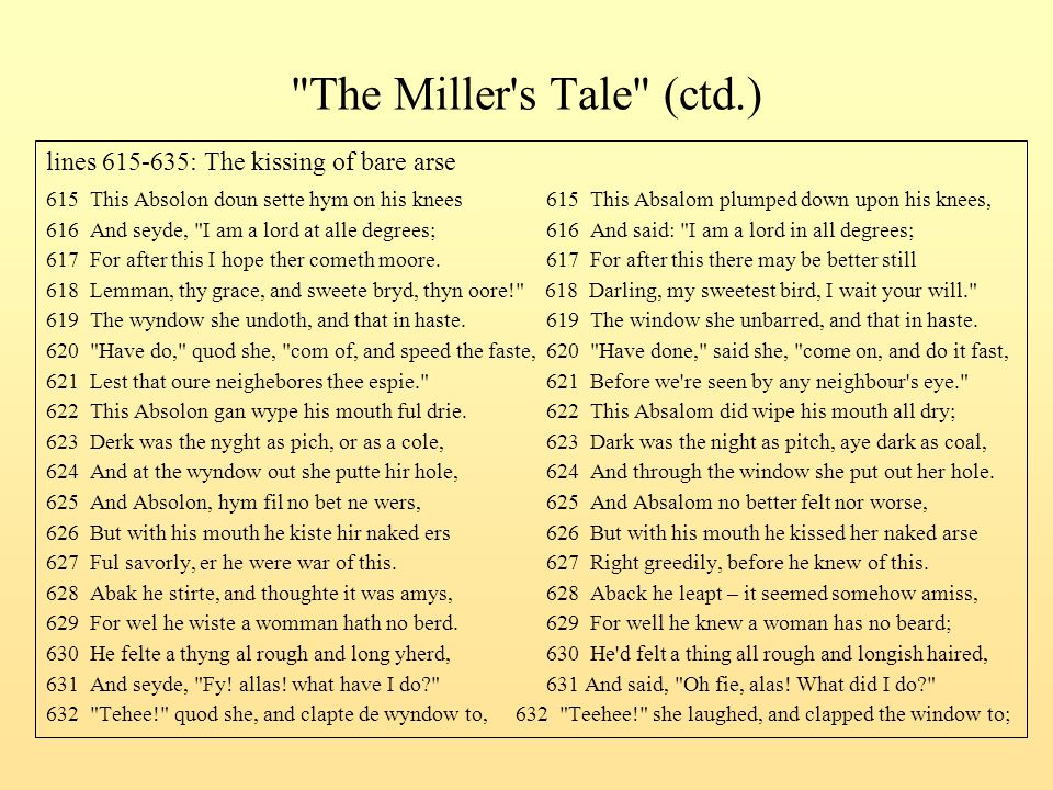 The Miller s Tale (ctd.) lines 615-635: The kissing of bare arse