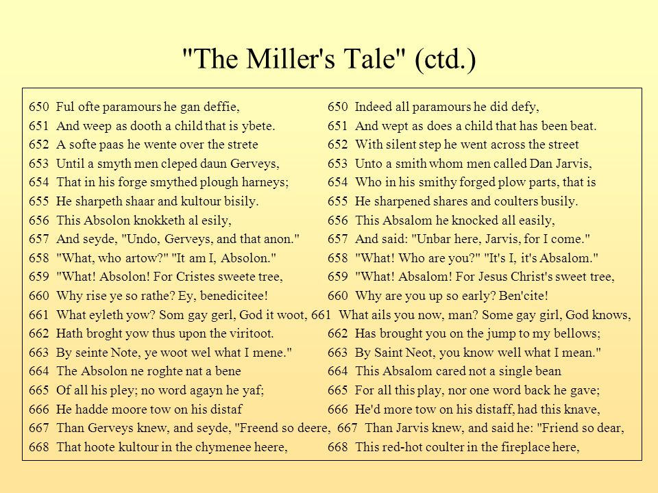 The Miller s Tale (ctd.) 650 Ful ofte paramours he gan deffie, 650 Indeed all paramours he did defy,