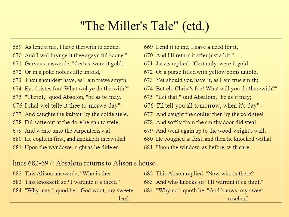 The Miller s Tale (ctd.) 669 As lene it me, I have therwith to doone, 669 Lend it to me, I have a need for it,
