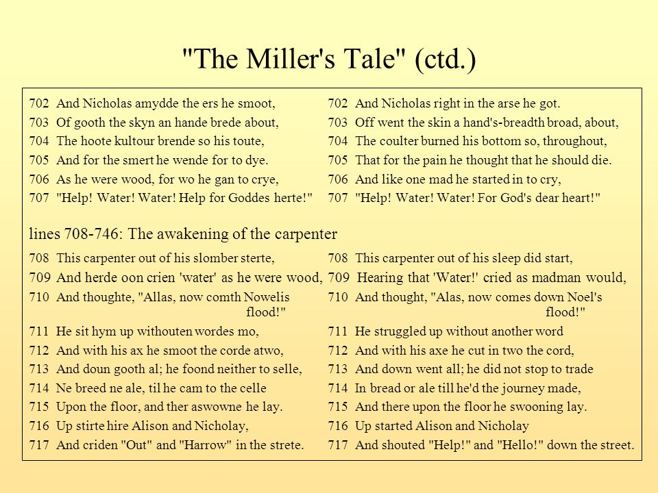 The Miller s Tale (ctd.) 702 And Nicholas amydde the ers he smoot, 702 And Nicholas right in the arse he got.