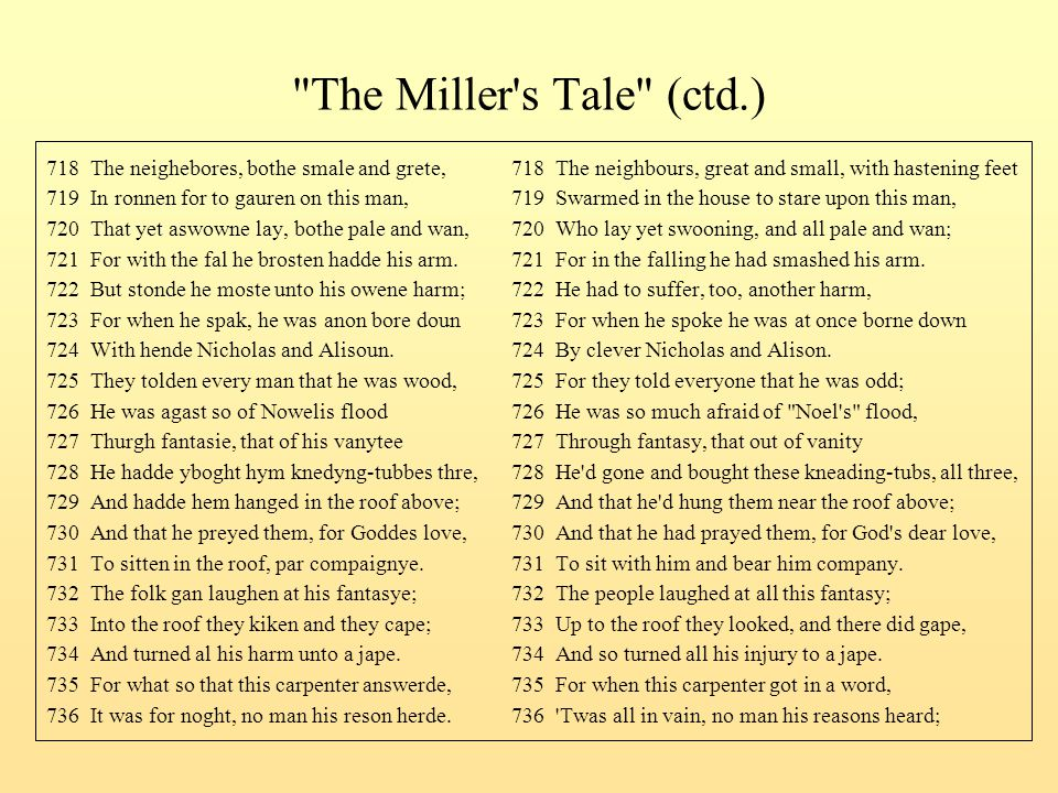 The Miller s Tale (ctd.) 718 The neighebores, bothe smale and grete, 718 The neighbours, great and small, with hastening feet.