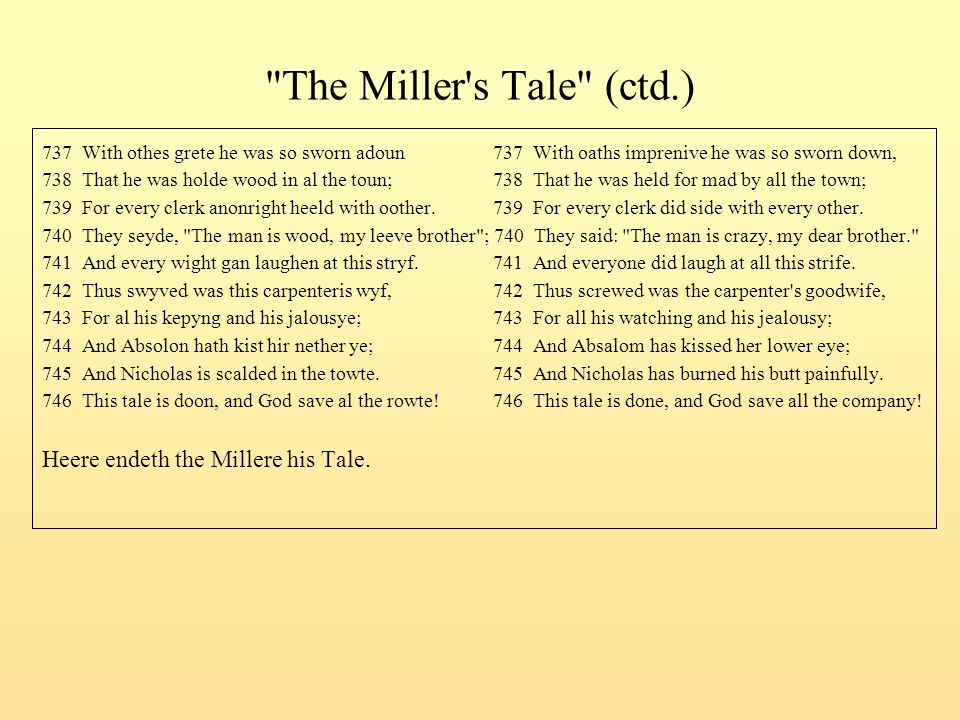 The Miller s Tale (ctd.) Heere endeth the Millere his Tale.