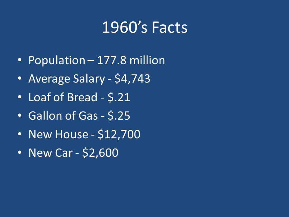 1960's Facts Population – 177.8 million Average Salary - $4,743