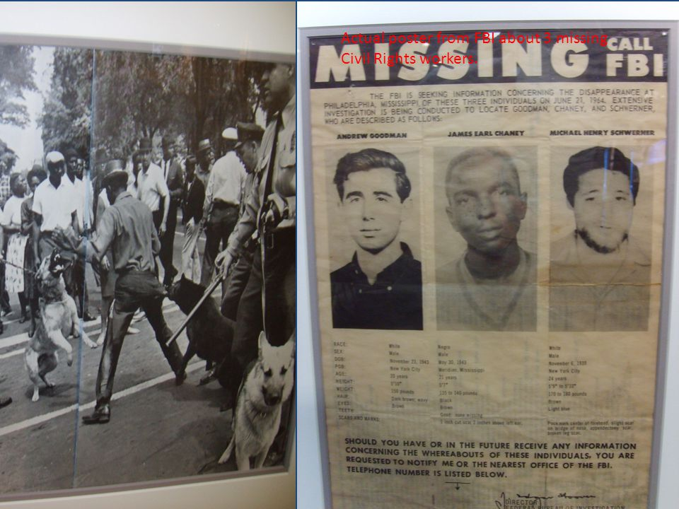 Actual poster from FBI about 3 missing Civil Rights workers.