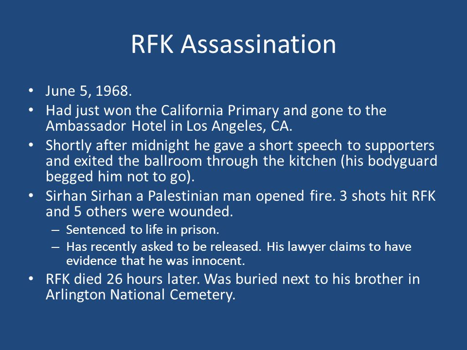 RFK Assassination June 5, 1968.