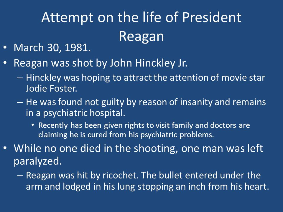 Attempt on the life of President Reagan