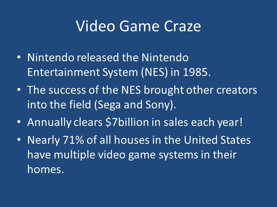 Video Game Craze Nintendo released the Nintendo Entertainment System (NES) in 1985.