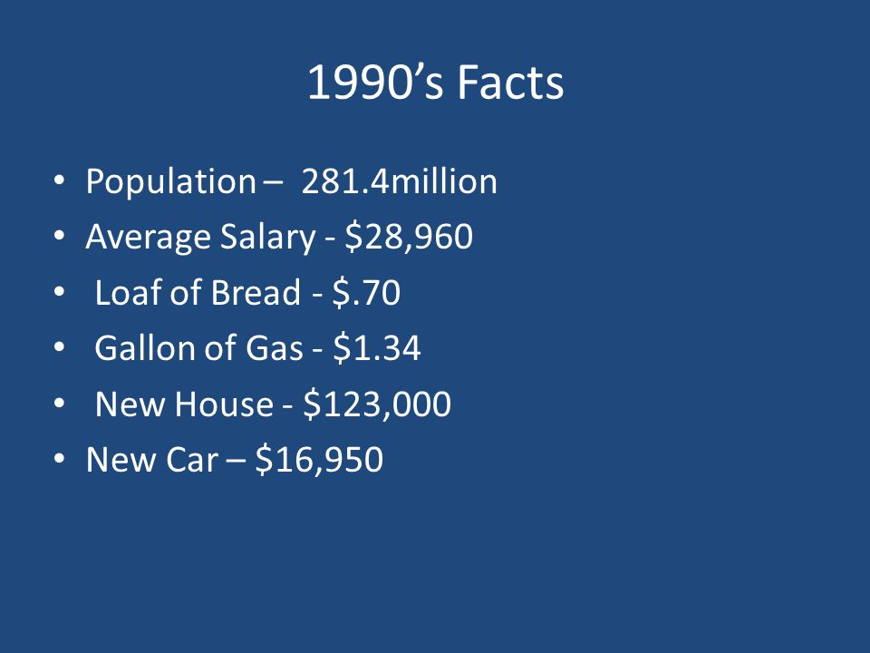 1990's Facts Population – 281.4million Average Salary - $28,960
