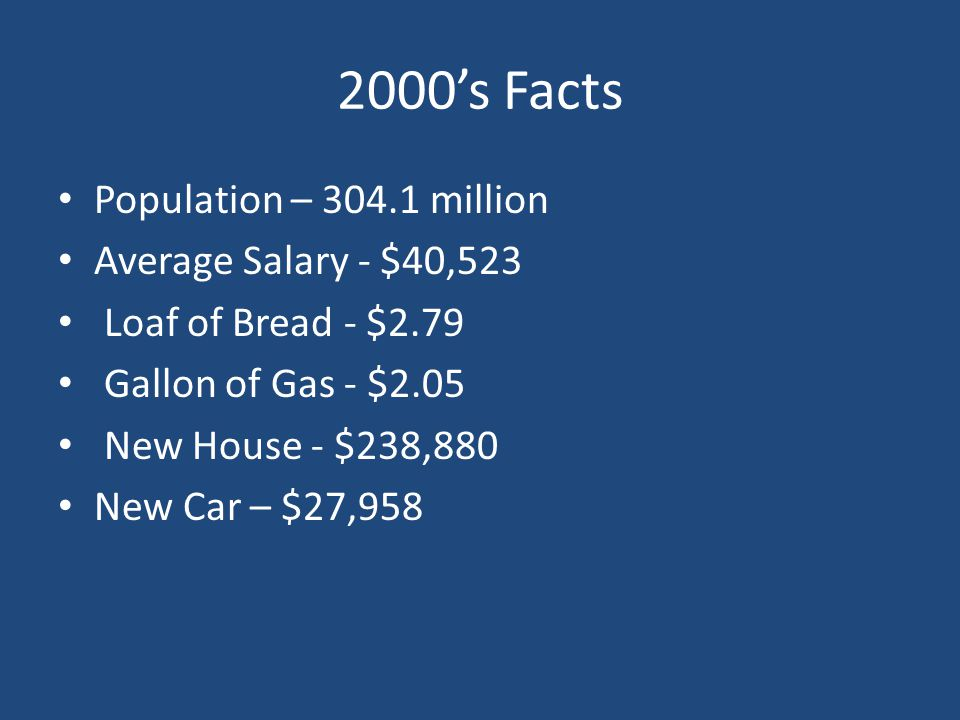 2000's Facts Population – 304.1 million Average Salary - $40,523