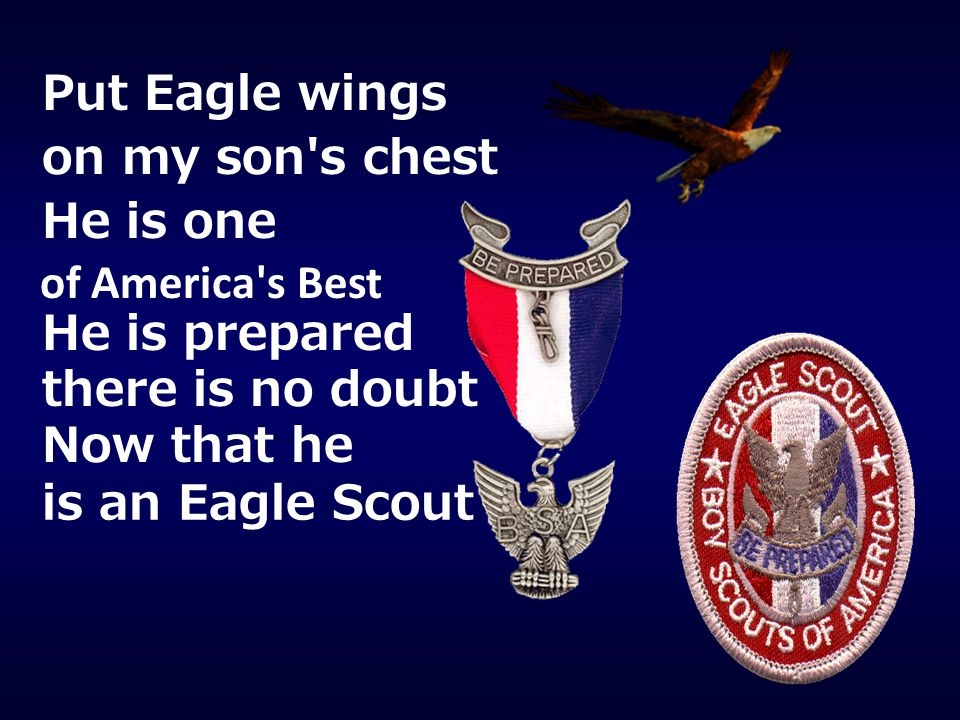 Put Eagle wings on my son s chest. He is one. of America s Best. He is prepared. there is no doubt.