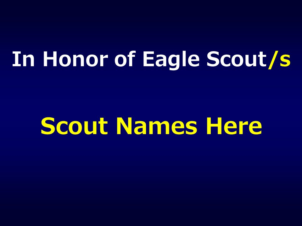 In Honor of Eagle Scout/s