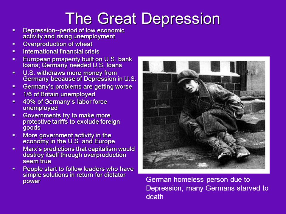 The Great Depression Depression--period of low economic activity and rising unemployment. Overproduction of wheat.