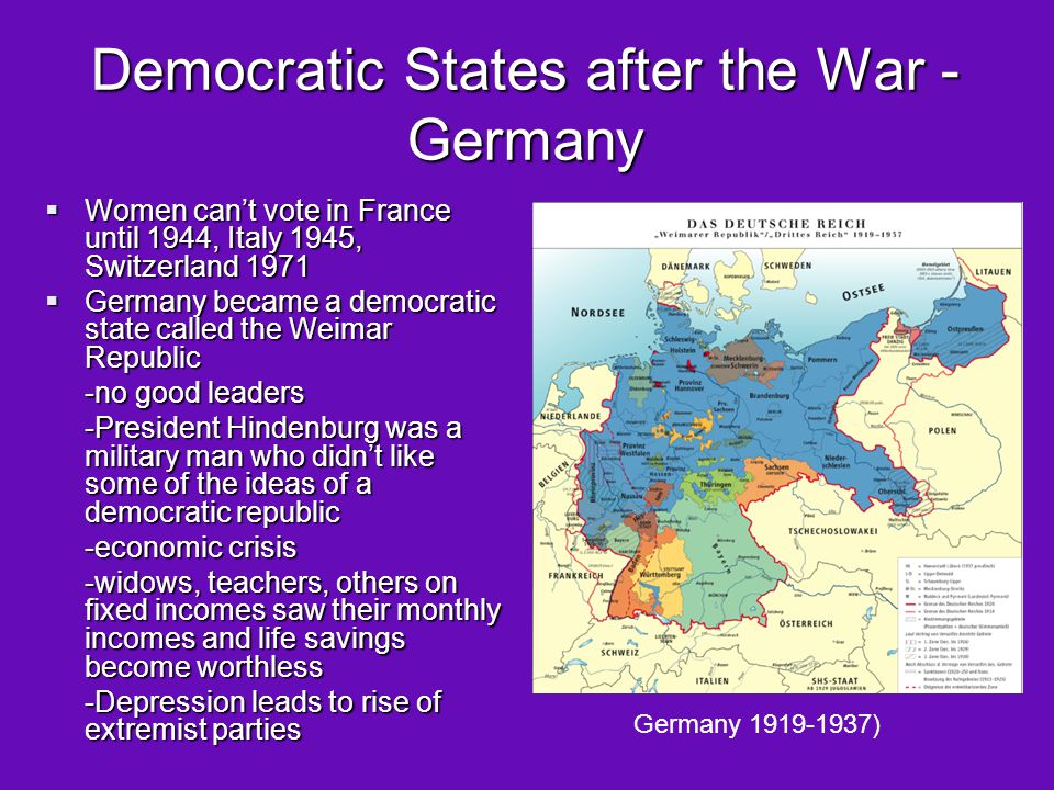 Democratic States after the War - Germany