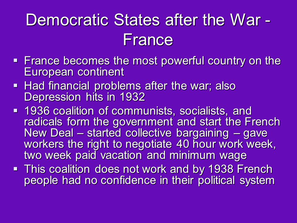 Democratic States after the War - France