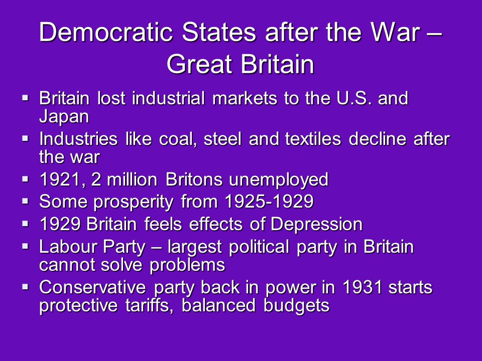 Democratic States after the War – Great Britain