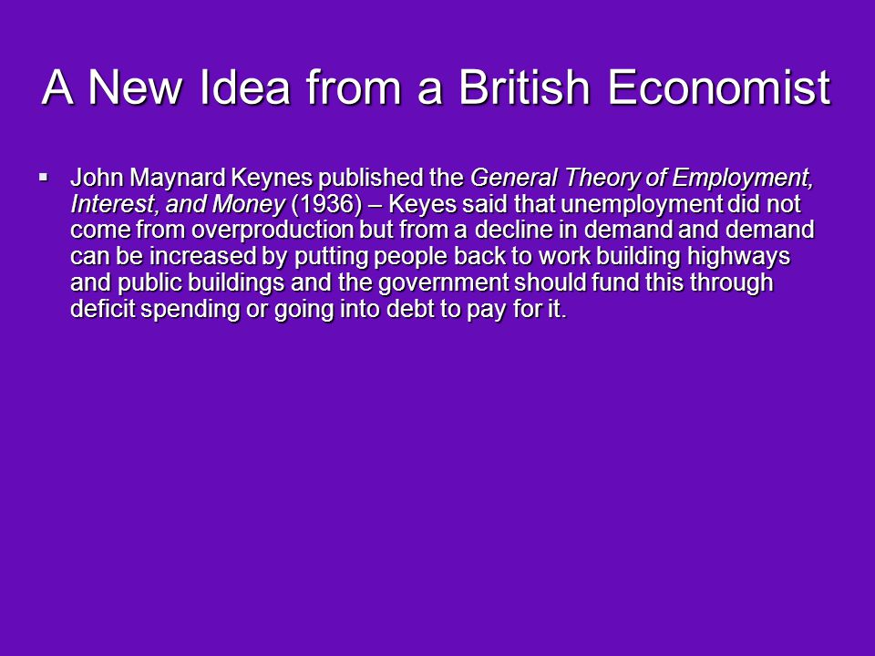 A New Idea from a British Economist