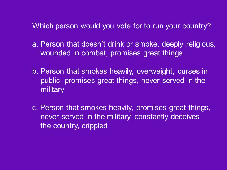 Which person would you vote for to run your country
